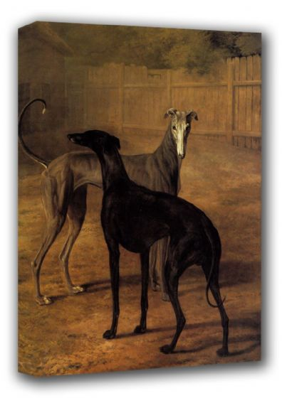 Agasse, Jacques Laurent: Rolla and Portia (Greyhounds). Fine Art Canvas. Sizes: A3/A2/A1 (00652)